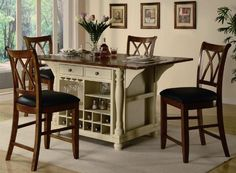 Buttermilk and Cherry Kitchen Island Collection by Coaster by Coaster Home Furnishings. $1203.05. Dining and Kitchen. 5pc Counter Height Kitchen Island Table and Stools Set. Dining and Kitchen->Dining Room Sets->Counter Height Dining. Some assembly may be required. Please see product details.. This large kitchen island has plenty of storage for your dishes, spices, wine and more! Features an off-white buttermilk base with a fold down cherry finish top. Matching cherry f...