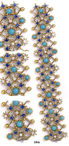 Turquoise, sapphire, diamond and gold bracelet. Jean Schlumberger for Tiffany & Co