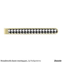 Houndstooth classic weaving pattern gold finish tie clip