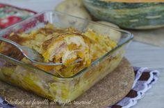Tortino di zucca patate e prosciutto con scamorza filante, un secondo gustoso, facile e veloce. Zucca a crudo e patate lesse..