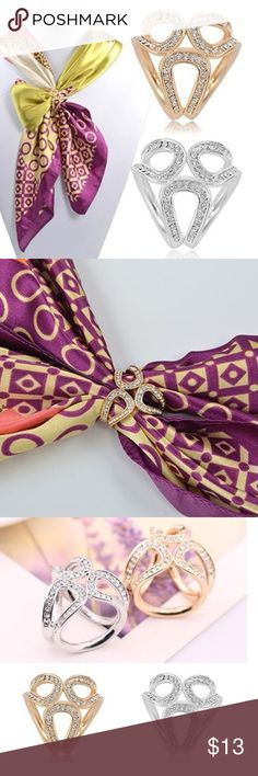 "NWT Silk Scarf Buckle Holder This silk scarf buckle is simple and graceful. The little shining rhinestones are set on alloy garland, which looks very beautiful. It will be an amazing gift for women.  Type: Silk Scarf Holder Material: Alloy, Rhinestone Features: Alloy Garland, Clear Crystals Inlay Style: Fashion Occasion: Daily Wear, Wedding, Prom, Party, Office, Gift Diameter: 1.8cm/0.71"" (Approx.) Accessories Scarves & Wraps"