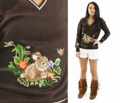 70s Embroidered Sweater Bunny Flowers Brown Knit V by ScarletFury, $44.00, https://www.etsy.com/listing/184559223/70s-embroidered-sweater-bunny-flowers Women's teen vintage fall winter urban fashion