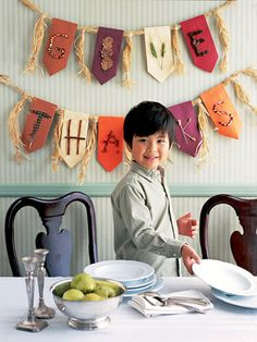 Decorate your dining room for Thanksgiving with a kid-friendly, fall-inspired banner.