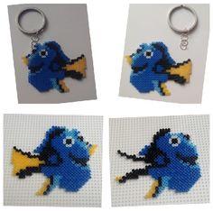 Llavero de Dory con hamabeads mini el pez azul de 'Buscando a Dory'. Ideas para hacer utensilios prácticos y utililes con el personajes protagonista de disney.