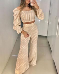Shop Puffed Sleeve Striped Top & Dot Print Pant Sets right now, get great deals at Chiquedoll Suits For Women, Clothes For Women, Wide Pants, Culottes, Pattern Fashion, Sleeve Styles, Ideias Fashion, Estilo Fashion, Autumn Fashion