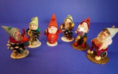 Vtg SHINY BRITE Pine Cone ELVES & SANTA Pipe Cleaner Xmas Ornaments Figure Japan