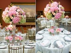Tall, round centrepiece flowers in pink. but we can do your colors