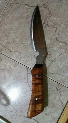 Koa wood handle lawnmower blade knife.