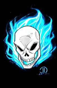 GHOST RIDER Blue digital sketch by JoeyVazquez.deviantart.com on @deviantART