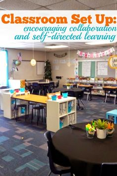 Classroom Set Up - Encouraging Collaboration and Self-Directed Learning. This post if full of pictures and ideas that are helpful for creating flexible seating! Classroom Setting, Classroom Design, School Classroom, Classroom Themes, Future Classroom, Classroom Pictures, Stools For Classroom, Classroom Flexible Seating, Kindergarten Classroom Layout