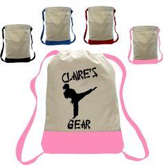 Girl Karate Martial arts Drawstring Closure Bag Backpack personalized wit name taekwondo judo - Karate Totebag - Taekwondo Totebag Custom Made T Shirts, Custom Tees, Backpack Bags, Drawstring Backpack, Tote Bags, Karate, Best Commercials, Judo, Martial Arts