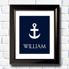 Personalized Nautical Nursery Print / Custom Baby Shower Gift / Personalized Name Print / Anchor Print / Free Shipping Worldwide. $25.00, via Etsy.