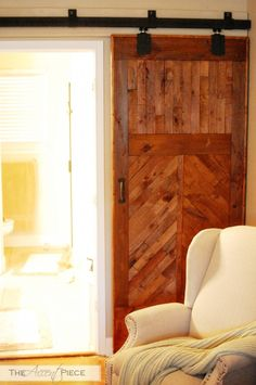 DIY Barn Door!  Fiinally -- a link with detailed instructions on how to assemble your own barn door track by purchasing individual hardware pieces, AND final installation instructions!