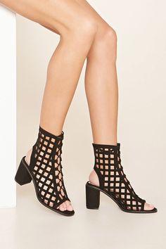 Faux Suede Cutout Sandals