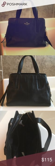 "🆕♠️Kate Spade Hand bag♠️ I received this bag as a gift and I've only used it once! It's brand new. Still has the wrapping paper on the inside zippers. No rips, tears, or damages to the leather. Measurements LxHxW=11""x8""x6"". 100% authentic. Price is lowered because it does not come with the extra strap extension. No trades😘 kate spade Bags"