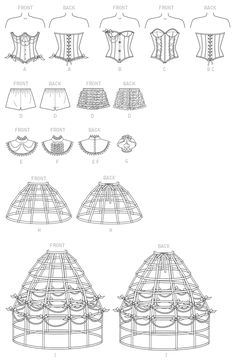 M7306 sewing pattern for corsets with cups, ruffled shorts, hoop skirts, and neck accessories.