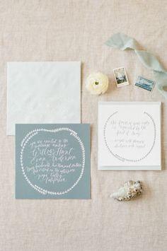 Soft gray invitations: http://www.stylemepretty.com/2015/05/22/rhythm-of-the-waves-wedding-editorial/   Photography: Tamara Gruner - http://www.tamaragruner.com/