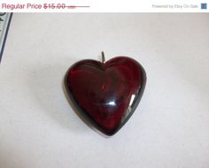 25 OFF SALE Vintage Red Lucite Plastic Bubble Heart by MICSJWL, $11.25