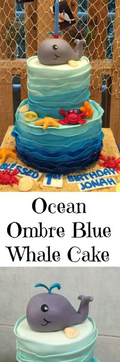 Ocean Theme Whale Cake made out of edible fondant