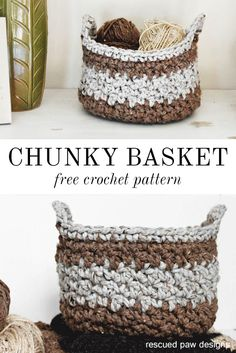 Chunky Crochet Basket Pattern ⋆ Rescued Paw Designs Crochet by Krista Cagle