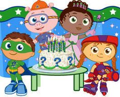 Super Why! Birthday Party - printable invitations, party hats, & favors.  Game and food ideas.