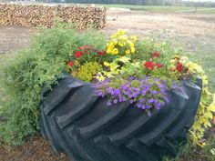 tractor tire planter...oooohhhh....for the strawberries ... - photo#41