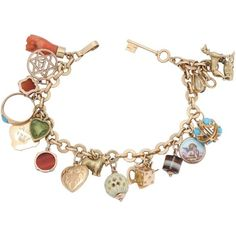Preowned 1950s Multicolored Stones 20 Lucky Charms Gold Link Bracelet (£1,775) ❤ liked on Polyvore featuring jewelry, bracelets, charm bracelets, multiple, yellow gold charm bracelet, heart charm bracelet, gold bangles, charm bracelet and gold jewelry