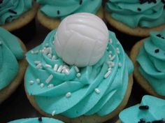 Volley Ball Cupcakes. Love the color