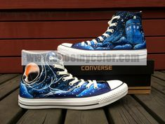 Doctor Who Galaxy Tardis Converse Canvas Black High Top Hand Painted Shoe