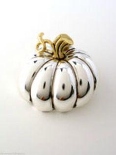 "Pumpkin Pendant Pin Jewelry Thanksgiving Fall Harvest Bountiful Beauty 2"" L  #DavenportDesigns #DualFunctionPendantPin"