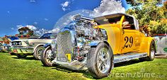Custom painted and designed 1929 hot rod on display at car show