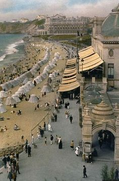Biarritz beach, France, 1927, Travelogues by Burton Holmes. This place is absolutely stunning!
