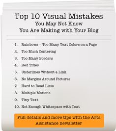 List of top 10 visual mistakes you may be making with your blog and website
