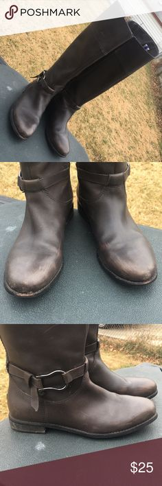 Sperry Top Sider Grey Riding Boots - Sz 9 Please Read - these boots have some scuffs, scraps and scratches. They will need a good buffing or worn as-is. Th Heels have a small chip but not noticeable when worn. Priced to GO! Go! Go! Sperry Shoes Winter & Rain Boots