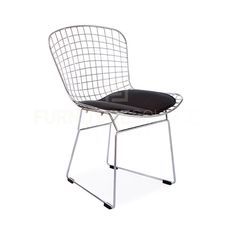Harry Bertoia Style Mid Century Modern Wire Side Retro Dining Chair - Black Pad #FurnitureSourceWorldwide #MidCenturyModern