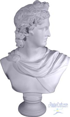 """CHEAP BUSTS Apollo Bust Large Statue      Item # ST386     Size: 20"""" H     Plaster Bust Statue     White - Unpainted  $49.99"""