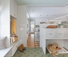 Image 1 of 15 from gallery of Sophisticated Built-In Dog Beds and Crates for Their Nook Sleeping Areas. Dog bed under custom mudroom cabinet with drawers equipped with metal dog gate that connected to kitchen Dog Spaces, Small Spaces, Built In Dog Bed, Dog Nook, Mudroom Cabinets, Dog Area, Diy Dog Bed, Dream House Interior, Dream House Plans
