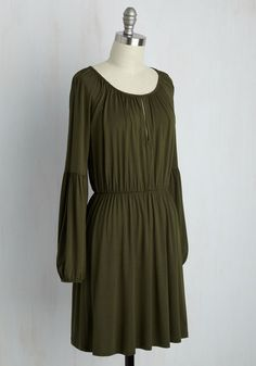 Campground Chic A-Line Dress. An epic hike to the peak always puts you in a celebratory mood! #green #modcloth