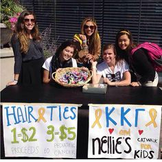 Kappa Kappa Gamma at Loyola University Chicago sold hair ties to benefit pediatric cancer research