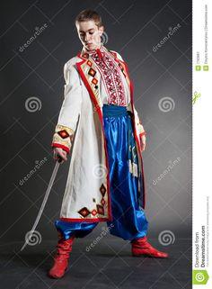 Young Ukrainian Cossack Posing With Sabre Stock Image - Image of folk, lifestyle: 7763961