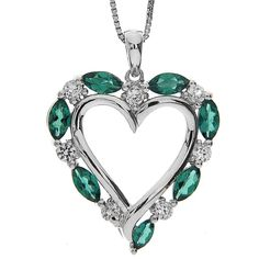 Sterling Silver Created Emerald and Created White « Holiday Adds Emerald Pendant, Love Symbols, Heart Jewelry, Color Of The Year, Green Wedding, Wedding Colors, Turquoise Necklace, Jewelry Accessories, Hearts