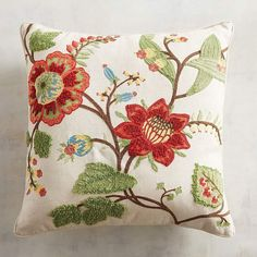 Embroidered Multifloral Harvest Cotton Decorative Pillow in Autumnal Colors - Greens and Ochre - Traditional Decor Throw Pillow for Fall Floral Throws, Floral Throw Pillows, Decorative Throw Pillows, Chair Pads, Sofa Chair, Traditional Decor, Fabric Painting, Embroidered Flowers, Fall Decor