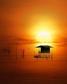 Sunset by Anuchit Sundarakiti - Sunset @ Bang Taboon is a a little district in Petchaburi province , Thailand