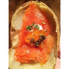 ... smoked salmon, creme fraiche, salmon roe, sturgeon caviar and tarragon