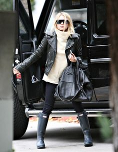 Ashley Olsen - great leather jacket + Givenchy bag
