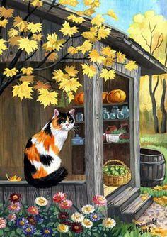 Autumn cat painting. Tatyana Rodionova