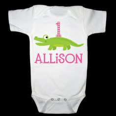 Adorable Alligator Birthday Girl Shirt or by siblingspecialtees, $17.00