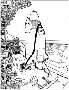 Print Spaceshuttle kleurplaat