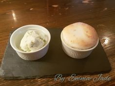 Just had this yummy desert today.....gooseberry souffle and pistachio ice cream! Was so good, need to try making a souffle one day :)