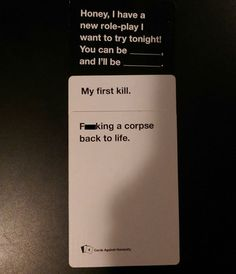 That's a bit specific - Fun Times Playing Cards Against Humanity – Strange Beaver <<< This is basically the story in the song A Little Piece Of Heaven by Avenged Sevenfold. Funny Quotes, Funny Memes, Hilarious, Stupid Memes, Funniest Cards Against Humanity, Lol, Nerd, Twisted Humor, Funny Cards